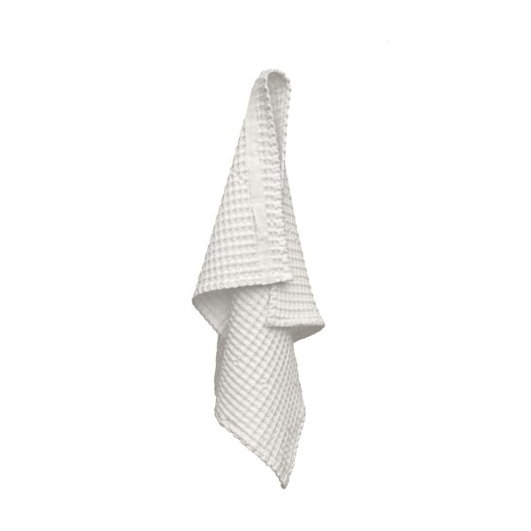 Big waffle hand towel in white. By Denmark's The Organic Company. 100% GOTS certified organic cotton, ethically made in India. Sold on nature connected design shop Chalk & Moss (chalkandmoss.com)