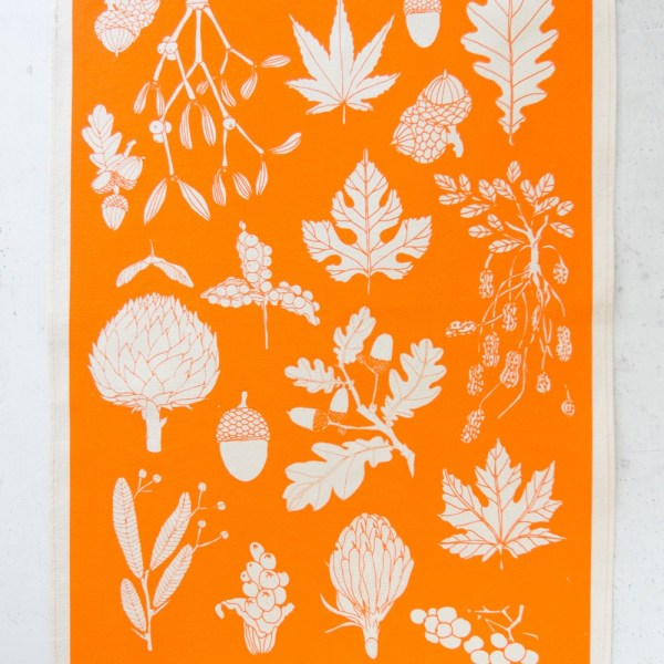 Tangerine tea towel by Softer + Wild, available on Chalk & Moss. Other colours and designs available.