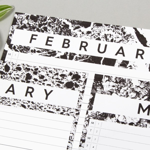 Wall calendar by Wald, in monochrome design. One month per view. W23 x H57 x D2 cm - perfect for family calendar planning!