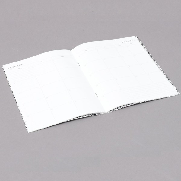 2019 diary in a cool black and white design with a month to view and space for notes at the back with a fun dot design and more.