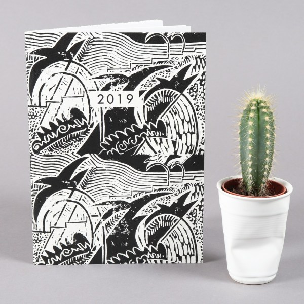 2019 diary in monochrome design with a month to view. 48 stylishly designed pages with extra pages for you to further plan out your year. The design is inspired by the designer's mother's original artwork. This practical year planner has pages at the back for extra notes and drawings. A handy portable size (22x16cm).