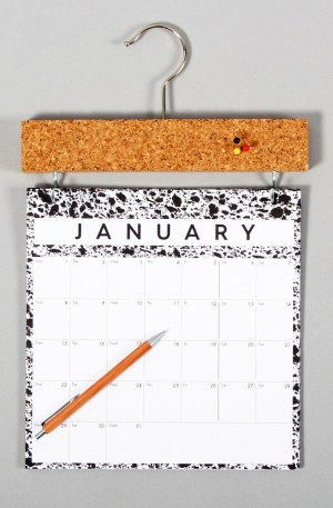 Year calendar 2019 with pinboard - month to view Pinboard year calendar in a modern monochrome design, with a Scandinavian style. A simple and refreshing take on the wall calendar to help you plan your year. The cork topper is perfect to pin reminders, business cards and more. With a month to view, this wall calendar is the perfect size for singles and couples. W23cm x H37cm x D2cm Made from 280gsm FSC certified paper and with refill pages are available year on year, this a great sustainable choice. The design uses scanned magnified materials of cork, sponge and marble. Made from 280gsm FSC certified paper. Also available in XL format for families.