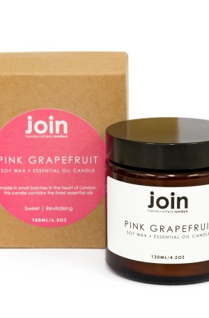 Pink grapefruit uplifting luxury candles Pink grapefruit luxury candles, hand crafted in London using 100% vegan soy wax and natural essential oil. The pink grapefruit scented candle is a happiness inducer - this zingy essential oil is often used to treat depression, so it's uplifting quality will be appreciated in any home or setting. This makes it the perfect gift for your friend who has everything! These aromatherapy candles look and smell beautiful both day and night. Choose from three sizes ranging from 10 hours to 45+. Luxury candles by Join are made from natural, cruelty free ingredients with recycled packaging. The pink grapefruit soy candle is part of Join's collection of candles, diffusers and room mists, all in a beautiful selection of essential oil fragrances, all available on Chalk & Moss (www.chalkandmoss.com).