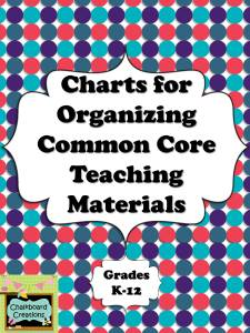Charts for Organizing Common Core Teaching Materials