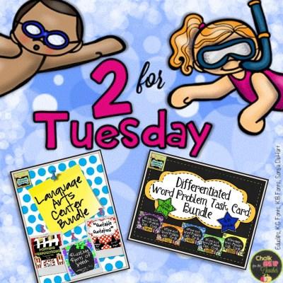 2 for Tuesday: Language Art Center and Math Task Card Bundles
