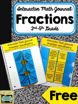 FREE Interactive Math Journal for fractions- 3 different versions to differentiate for 2nd-5th grade!