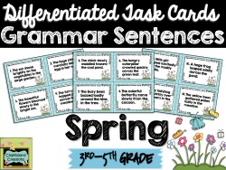 FREE Differentiated Task Cards Grammar Sentences for Spring (3rd-5th Grade)