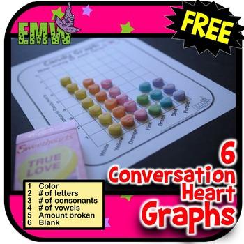 Conversation Heart Graphs free Valentines Day Math Center