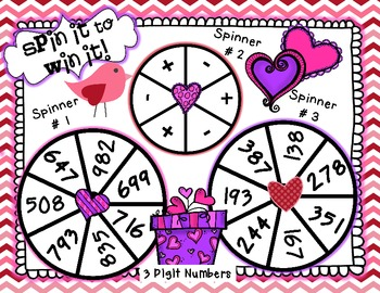 Spin it to Win It Addition and Subtraction valentines day math center