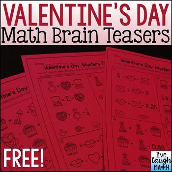 Valentines Day Brain Teasers Math Center