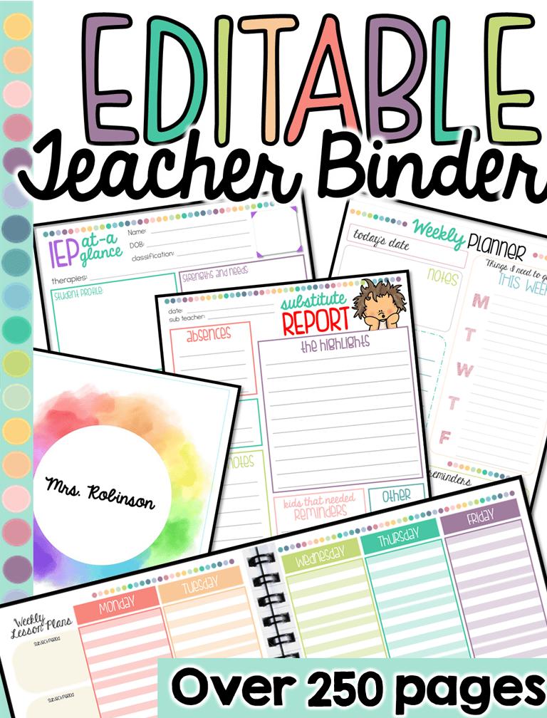 Special education teacher planner binder