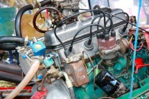 Motor of a longtail boat