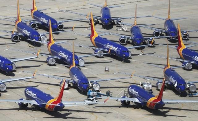 Les Boeing 737 MAX de la compagnie Southwest sont cloués au sol, à Victorville, en Californie, le 26 mars 2019 (GETTY IMAGES NORTH AMERICA/AFP/Archives - MARIO TAMA)