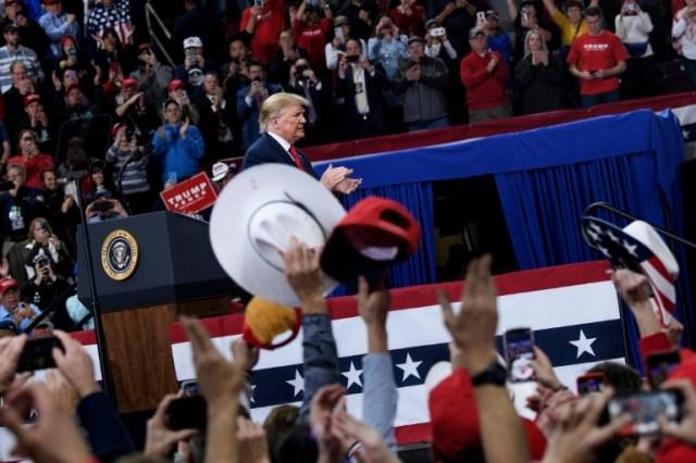 Le président américain Donald Trump, lors d'un meeting à Hershey en Pennsylvanie, le 10 décembre 2019 (AFP/Archives - Brendan Smialowski)