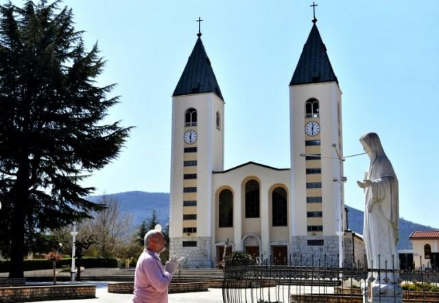 Le sanctuaire marial de Medjugorje (Bosnie-Herzégovine), le 7 avril 2020  (AFP - ELVIS BARUKCIC)