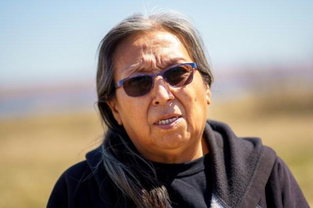 """Antoinette """"Toni"""" Goodlow, le 22 avril 2020 dans la réserve sioux de Lower Brulé (Dakota du Sud) (AFP - Kerem Yucel)"""