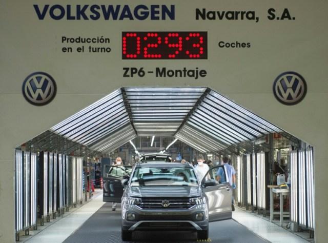 Une usine Volkswagen à Pampelune (Espagne) le 30 avril 2020 (AFP - ANDER GILLENEA)