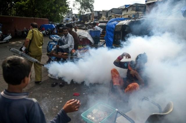 Opération de fumigation dans un bidonville de Bombay le 12 juin 2020  (AFP - Punit PARANJPE                      )