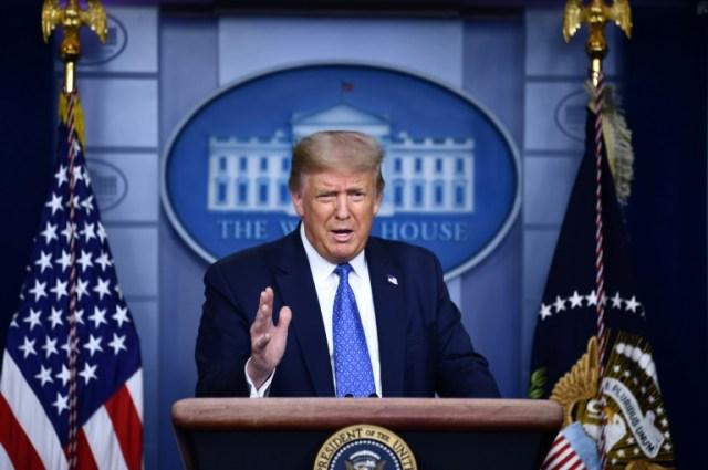 Le prédident américain Donald Trump s'exprime lors d'un point de presse sur le coronavirus le 22 juillet 2020 (AFP - Brendan Smialowski)