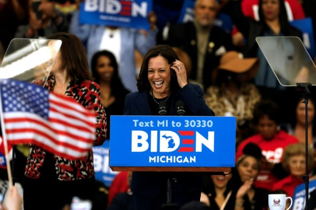 Kamala Harris, lors d'un meeting de Joe Biden, le 9 mars 2020 à Detroit (Michigan) (AFP/Archives - JEFF KOWALSKY)