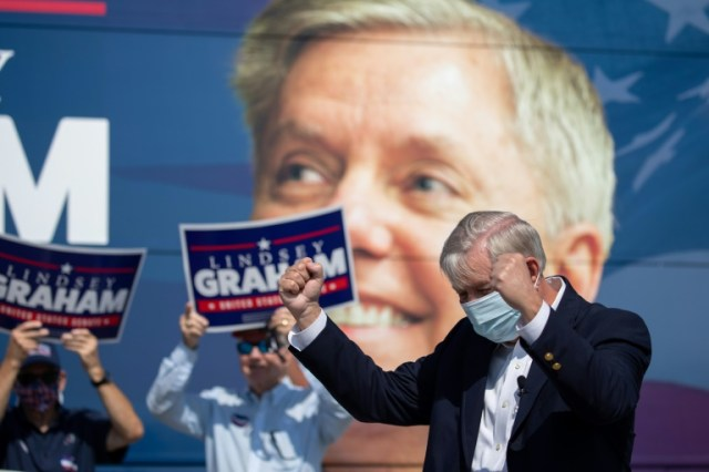 Le sénateur républicain Lindsey Graham, à Charleston, le 16 octobre 2020 (AFP/Archives - Logan Cyrus)
