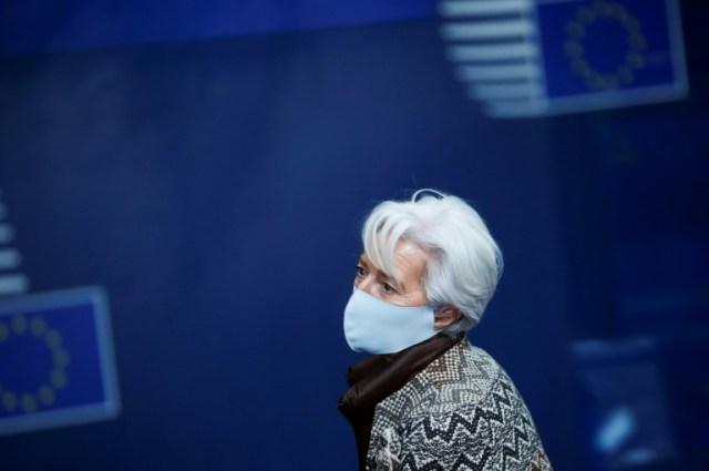 La présidente de la BCE Christine Lagarde lors du dernier sommet européen à Bruxelle, le 11 décembre 2020 (POOL/AFP/Archives - Francisco Seco)
