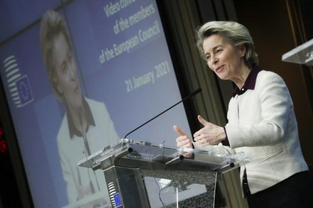 La présidente de la Commission européenne Ursula von der Leyen, le 21 janvier 2021 à Bruxelles (POOL/AFP/Archives - Olivier HOSLET)