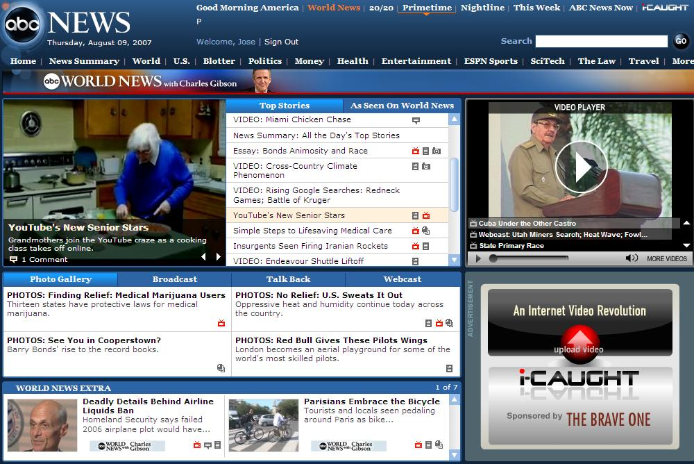 ABC WORLD NEWS, Bubbe on Front Page