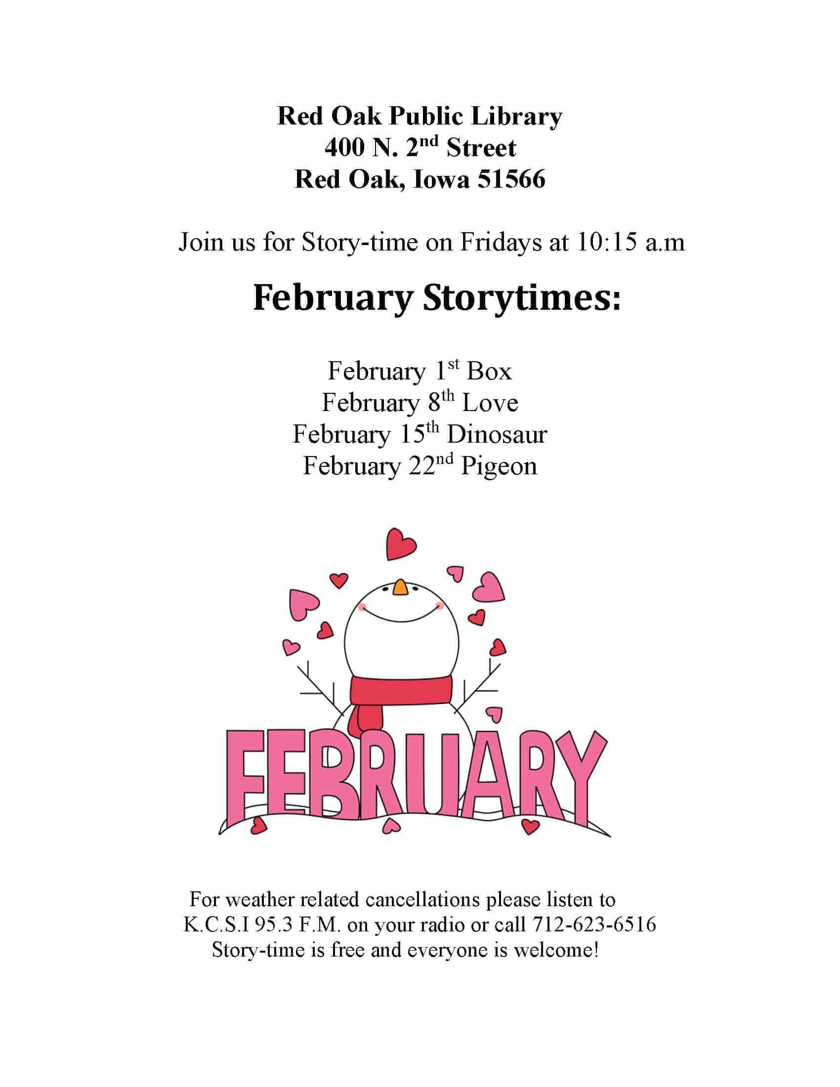 Red Oak Public Lib storytime Feb. 2019