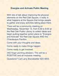 Energize and Activate Meeting