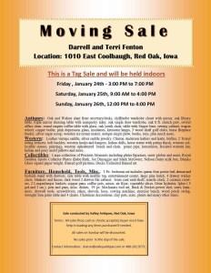 Darrell & Terri Fenton Moving/Tag Sale