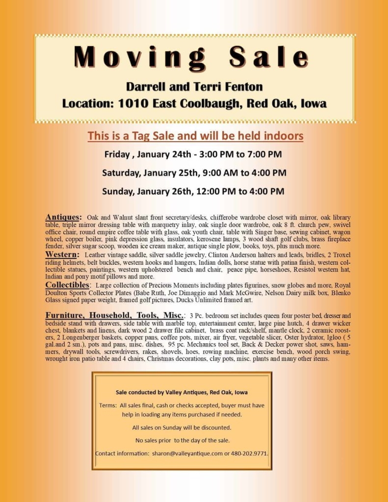 Darrell & Terri Fenton Moving/Tag Sale