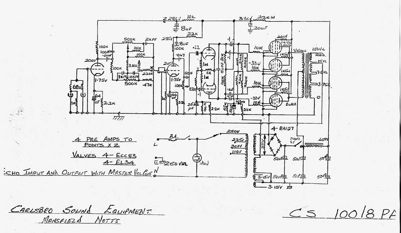 Carlsbro Cs 100 8 P A Amp Schematic