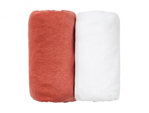 2 draps housse 60x120 blanc terracotta