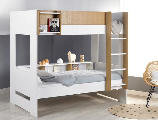 lit superpose enfant opus blanc bois