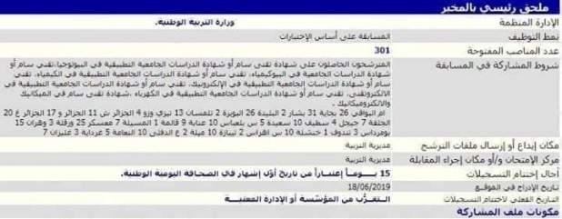 عاجل اعلان مسابقة توظيف ملحق رئيسي بالمخبر 2019
