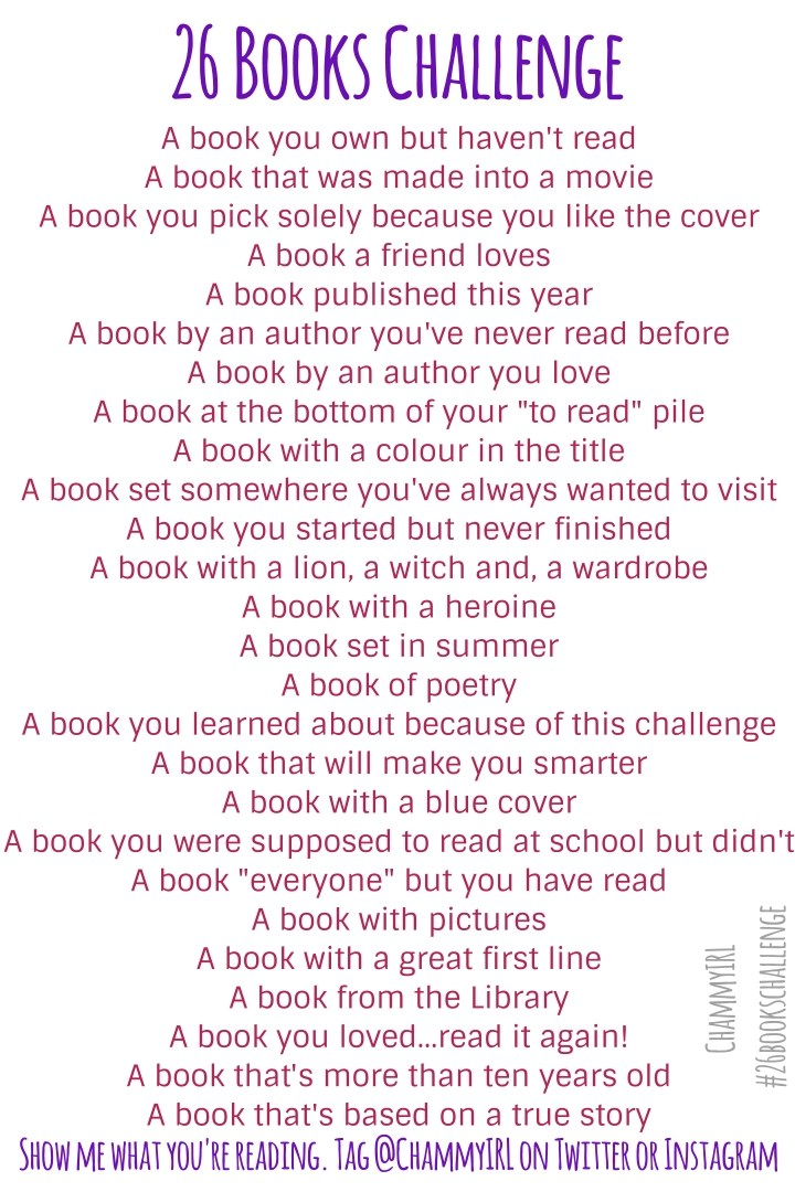 I'm taking part in the 26 Books Challenge. Reading or re-reading 26 different books over the next year.