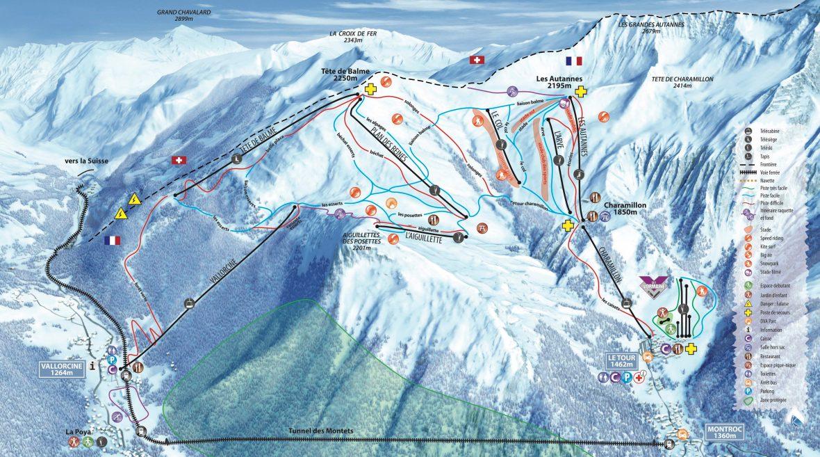 La Tour Chamonix Ski Map