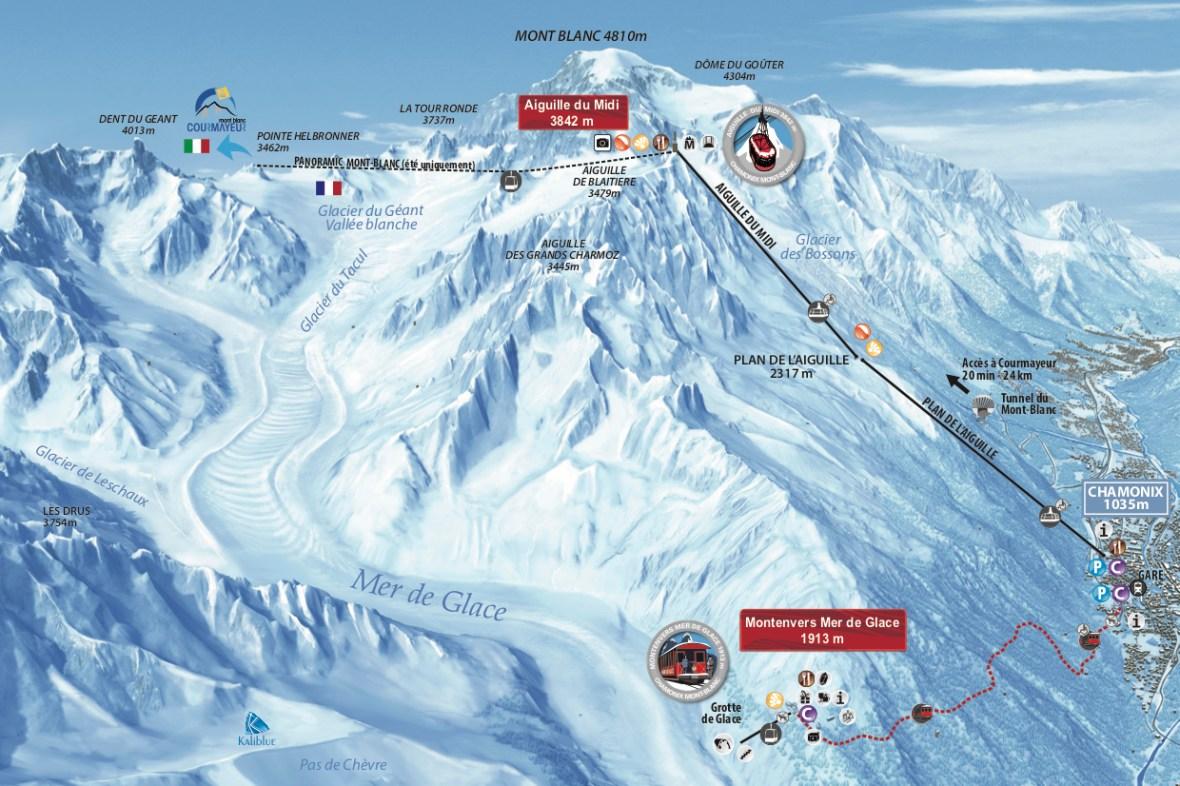 Aiguille du Midi Ski Map
