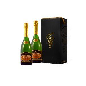 Coffret noir 2 bouteilles Champagne Mannoury
