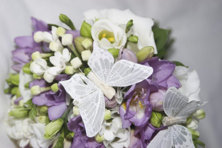 purple and butterfly themed wedding