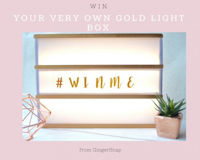 My gorgeous gold light box from Gingersnap and giveaway