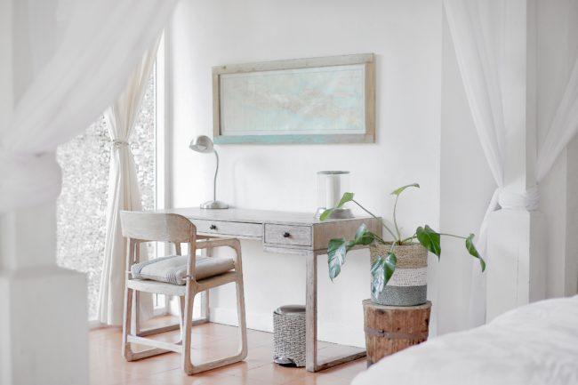 white minimal bedroom interior