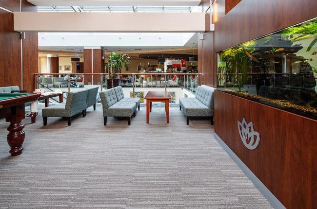carpet tiles in hotel lobby