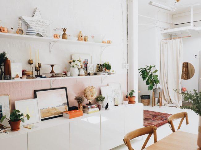 white shelves in modern home