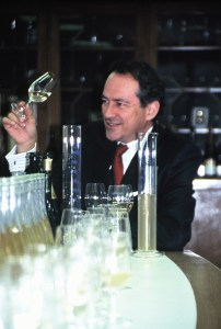 Bruno Paillard tastes different vins clairs for one of his blends