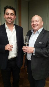 Xavier Rousset and Ronan Sayburn (of 67 Pall Mall) try out the new 2004 Celebris before the tasting