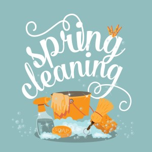 "An image of the words ""spring cleaning"" above cleaning supplies"