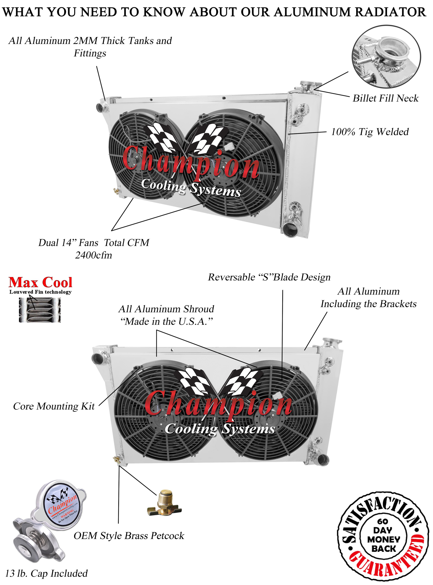 Chevy C K 10 Truck Radiator Aluminum 4 Row Champion
