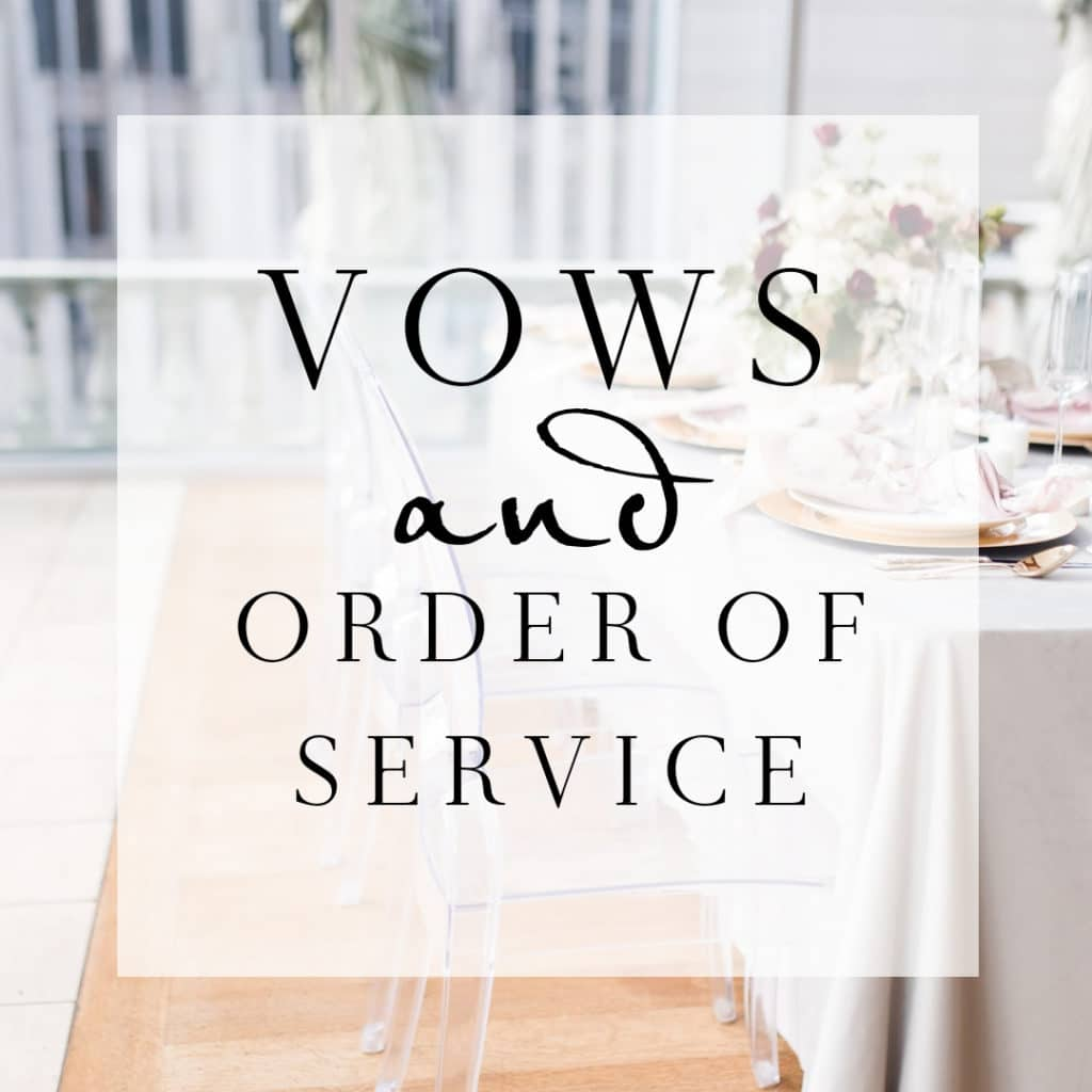 Example Order Of Service Amp Sample Wedding Vows Wedding